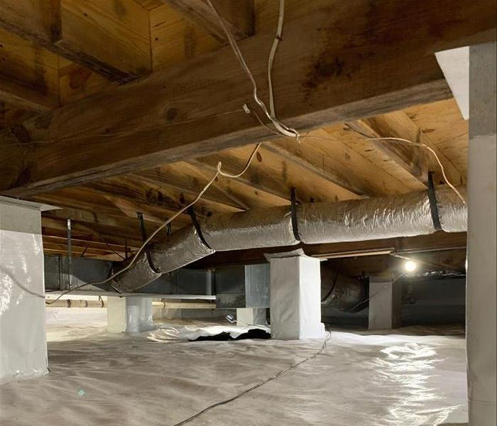 White encapsulation with mold free wood floor joist